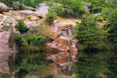 Granite Quarry Hillside And Reflections