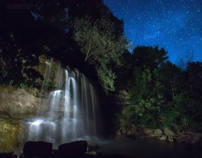 Rock Glen Falls At Night