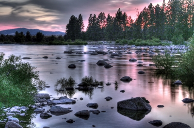 Spokane River Sunset Scenario