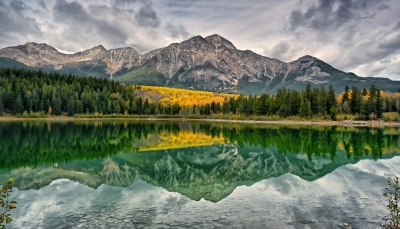 Autumn Reflections On Patricia Lake