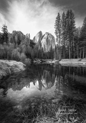 First Light Over Cathedral Rocks And The Merced River