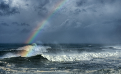 Whale Cove Waves And Rainbow