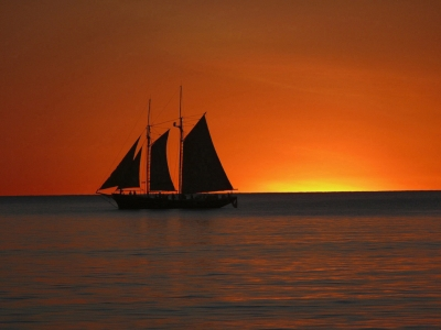 A Pearl Lugger At Sunset Off Cable Beach In Western Australia