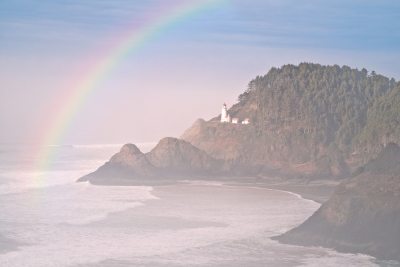 Rainbow Over Oregon Lighthouse