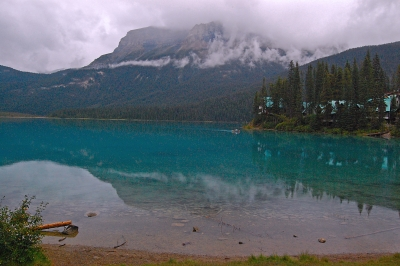 Emerald Lake On A Foggy And Rainy Day