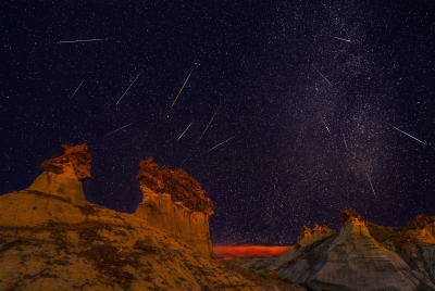 Perseid Meteor Shower Over The Bisti Badlands