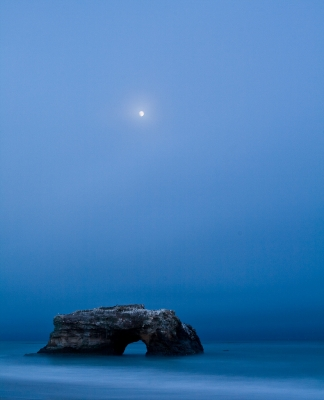 Blue Hour Moonrise Over Rock Arch