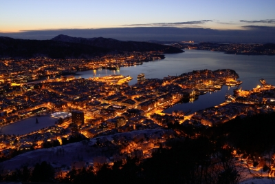 View Of Bergen At Dusk