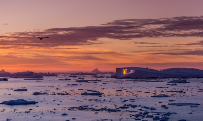 Sunrise In A Greenland Ice Field.