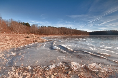 Reservoir, Ice, Blue Sky
