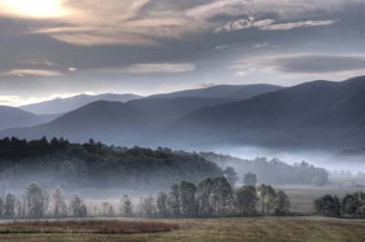 Fog Lays Over The Valleys Of Cades Cove.