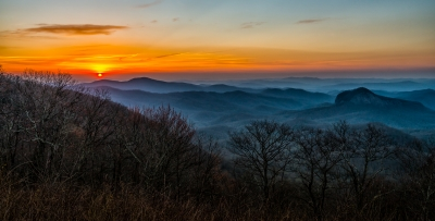 Sunrise At Looking Glass Rock Overlook