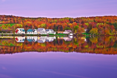 Vermont, Lake Elmore, Foliage, Fall Colors, Moonlight