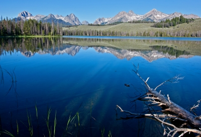 Sawtooth Mountains, Early Morning Reflections Of The Sawtooth Peaks In Little Redfish Lake At The Sawtooth Mountains In Central Idaho