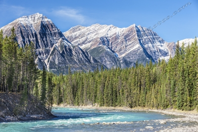 Athabasca River And The Canadian Rockies
