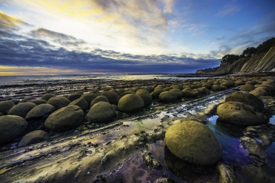 Sunset At Low Tide At Bowling Ball Beach, Southern Mendocino County Coast