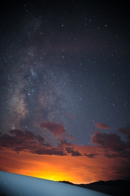 White Sands, Black Mountains, Red Sunset, Milky Way