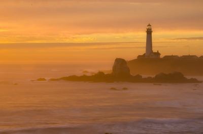 Pigeon Point Lighthoue At Sunset