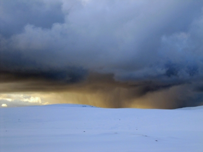 Snow Squall At Sunset