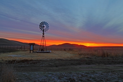 Rush Ranch Windmill And Sunrise
