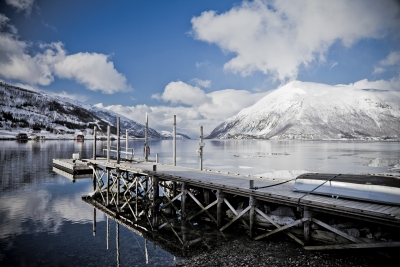 Arctic Fjord With Pier