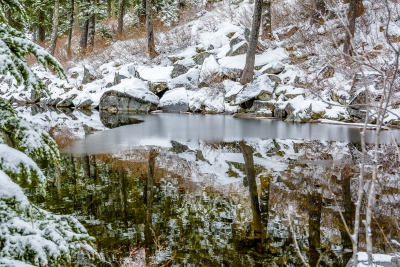 Thin Layer Of Ice Interrupts Reflections