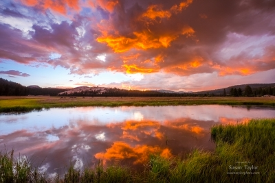 Tuolumne Meadows Stormy Sunset Reflection