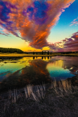 Sunset Over Yellowstone River