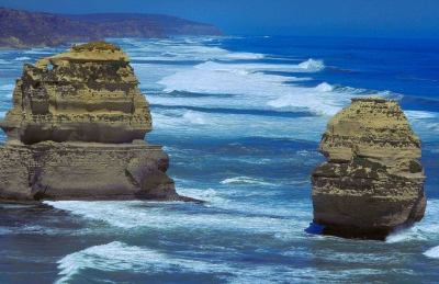 Two Of The Twelve Apostles On The Great Ocean Road In Victoria