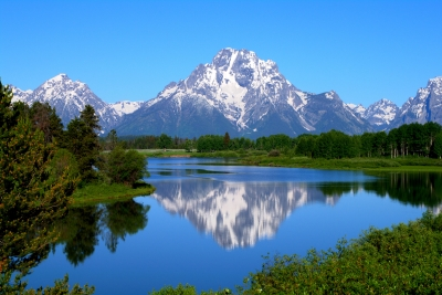Mount Moran On Snake River At Oxbow Bend