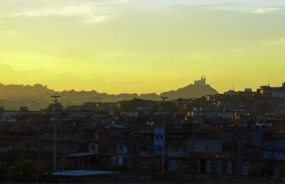 Favela With Church At Sunset
