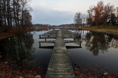 Still Waters And Dock On Christmas Lake