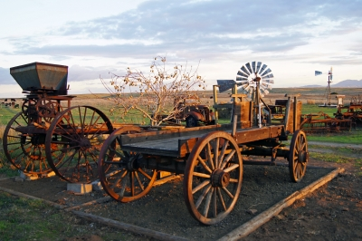 Old Wagon And Farm Equipment