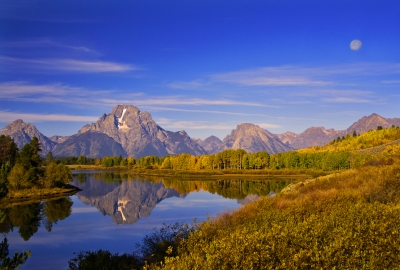 Moon Setting At Oxbow Bend Teton Np