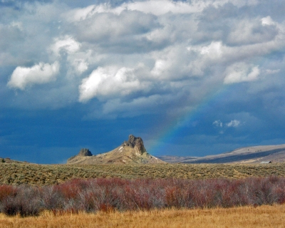 Butte With Rainbow Near Yampa Co