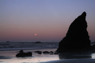 Moonset From Ruby Beach