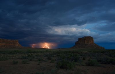 Approaching Thunderstorm Over Chaco Canyon.