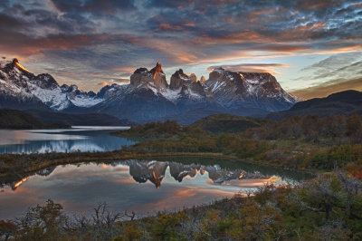 Lake Pehoé And The Cordillera Del Paine
