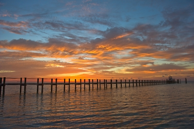 Sunrise Over Pier On Sugarloaf Key