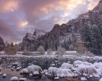 Winter Sunrise, Bridalveil Fall (yosemite)