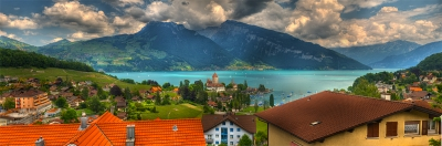 Panorama Of Spiez And Lake Thun