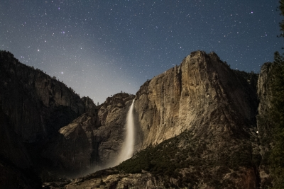 Upper Yosemite Falls By The Light Of The Moon