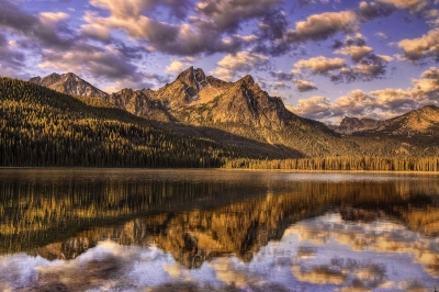 Cloudy Sunrise Over Mcgown Peak And Stanley Lake In The Sawtooth Mountains Of Idaho.