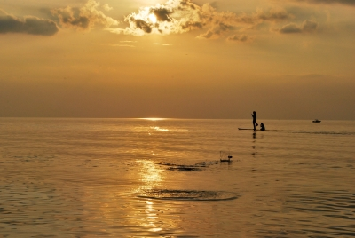 Paddle Boarder And Skipping Stone