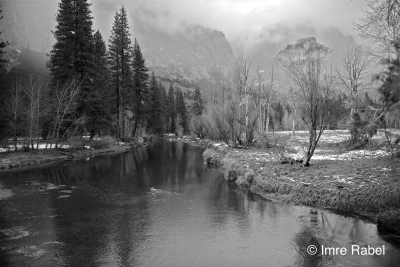 Merced River In Bw