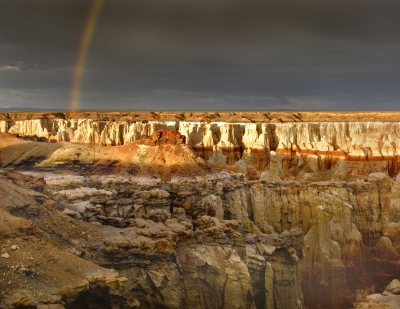 Coal Mine Canyon With Rainbow