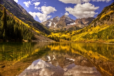 Autumn Morning At Maroon Bells Colorado