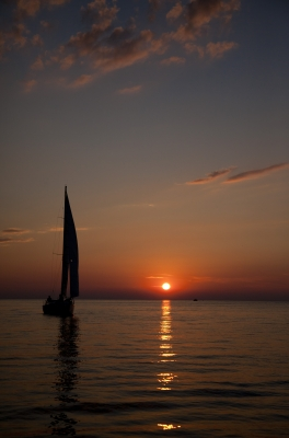Door County Sailboat At Sunset