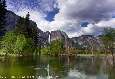 Spring Sky And Flooded Merced River, Yosemite Falls