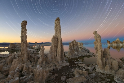 South Tufa Evening Wedge And Star Trails (the Trinity)